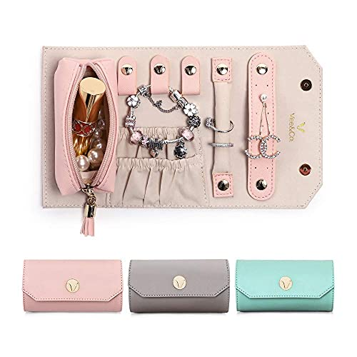 Vee - Joyero enrollable para joyas, anillos, pendientes, collares, regalos para mujer