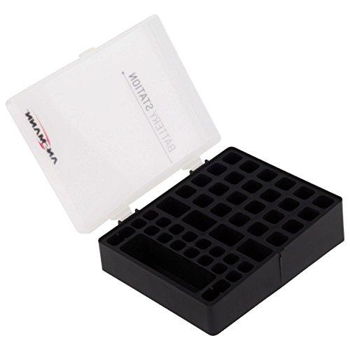 ANSMANN Batteriebox für AAA Micro, AA Mignon & 9V Block Akkus und Batterien - Praktische Akkubox zum Schutz & Transport für 48 Accus - Batterie Box & Akku Box zur Aufbewahrung