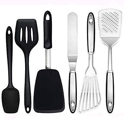 To encounter Silicone Stainless Steel Spatula Turner Set Flexible Fish Spatula Cooking Slotted Turner Metal Icing Spatula Set Kitchen Utensils Tools (set of 6-black)