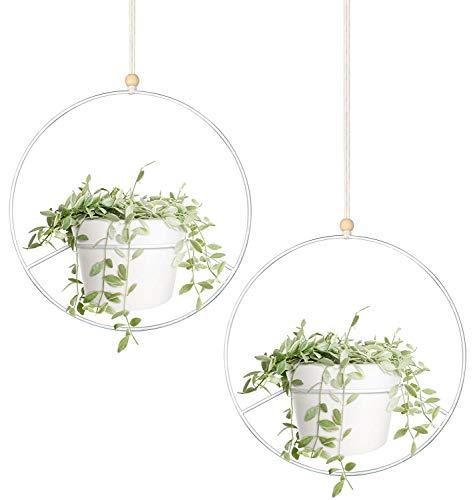 Mkouo Boho hangender Pflanzer, 2er Set Runder Metallpflanzenhalter mit Kunststoff Blumentopf, Deckenpflanzer Blumentopfhalter aus der, Passend zum 15cm Pflanzer, weiß (Topfe enthalten)