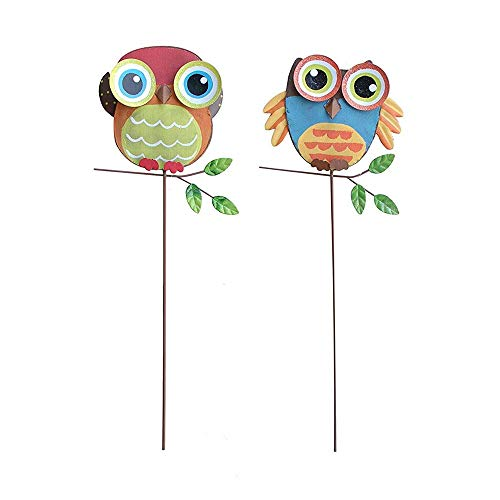 Metal Owl Garden Stake Lawn Yard Landscape Ornaments Outdoor Decorations Set of 2 (15.75' H)