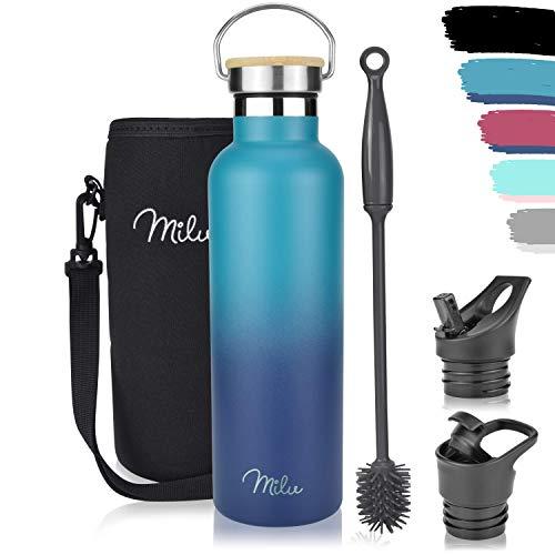 Milu Edelstahl Trinkflasche 500ml, 750ml, 1000ml (+3 Deckel) - Thermosflasche mit Strohhalm, Isolierte Wasserflasche, Auslaufsichere Isolierflasche doppelwandig, Kohlensäure geeignet (Grün Blau, 1L)