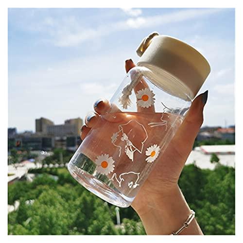 JSJJAEY Taza 500ml Linda Margarita Botellas de Agua plásticas congeladas Copa Transparente Creativa con la Botella de Agua Potable del té del Viaje de la Cuerda 2021 (Color : Transparent 3 Flower)