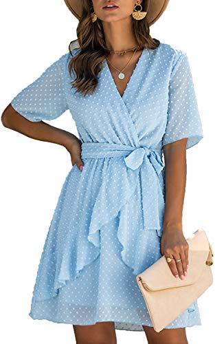ECOWISH Women V Neck Short Sleeve Polka Dot Floral Pattern A-Line Tie Belt Short Dress with Ruffle Irregular Hem Light Blue X-Large