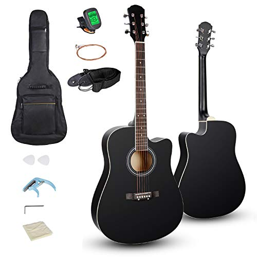 "Smartxchoices 6 String 41"" Full Size Acoustic Guitar Cutaway Wooden Guitar Set w/Gig Bag Strap, Tuner, Capo,Extra Strings Kit Pick for Adult Kids Beginner Starter Youths Students Right-handed (Black)"