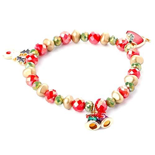 CACAZI Bracelet de Noël mignon avec cloche de Père Noël Elk Bracelet mignon pierre de Noël