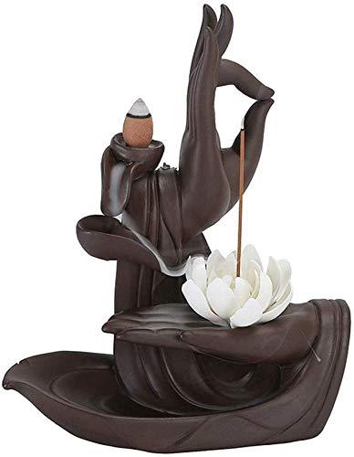 Cfbcc Púrpura de Arena Volver Quemador de Incienso de sándalo Zen Buda Mano Horno Inicio aromaterapia Antiguo Interior del Horno Grande de Incienso de Ruta Creativa Adornos