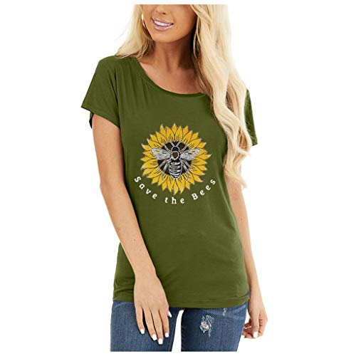 Women's Save The Bees T Shirt Casual Vintage Sunflower Bee Pattern Print Crewneck Short Sleeve T Shirt Shirts Tops Tee Army Green