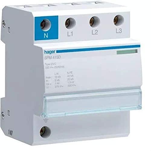 Hager spm415d–Limiter Überspannungsschutz Monobloc 3-polig + neutral 15KA claseii