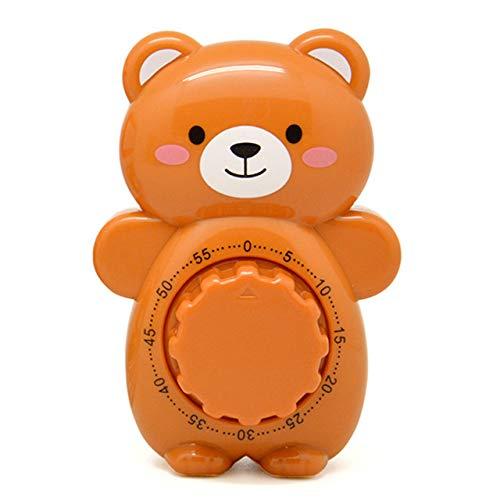 ERJQ Küchentimer, Kreative Cute Bear Mechanische Küchentimer 60 Minuten Countdown Alarm Timer Dial Timer Zähler Erinnerung Küchenzubehör,Braun