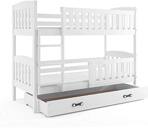 Flexible marco de cama de madera con capacidad para 2 literas de los niños con colchones, somieres y libre de cajón,White