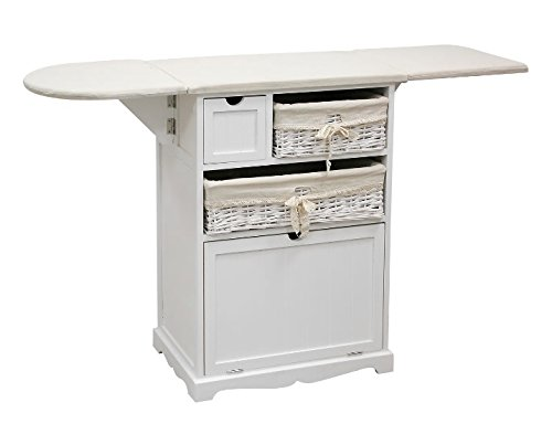 PLANCHERO ATLANTICO Mueble para Planchar Mimbre Y Madera Blanco (130 * 36 * 87)