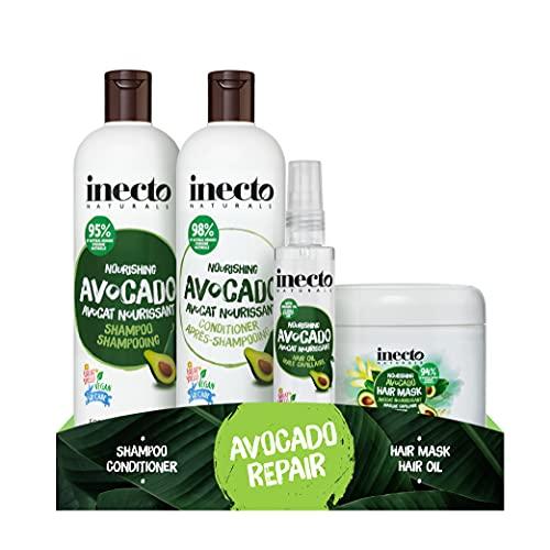 Inecto Shampoo, Conditioner, Haaröl & Masken-Set, angereichert mit natürlichem Avocadoöl, um zu pflegen und zu reparieren, vegan & tierversuchsfrei
