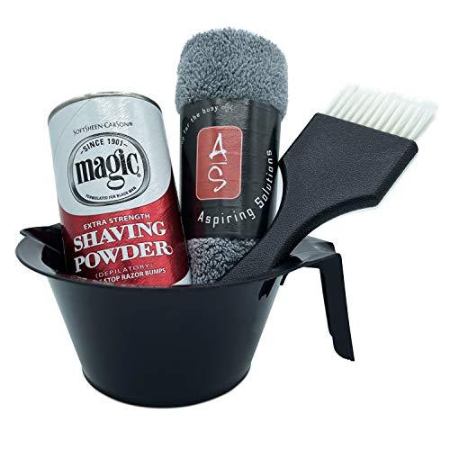 Aspiring Solutions Extra Strength Magic Shaving Powder 4pc Shave Kit for Men & Women–Shaving and Hair Removal Powder Depilatory Bundle – Best Beginners Set for Sensitive Skin, Itch Relief, Razor Burn