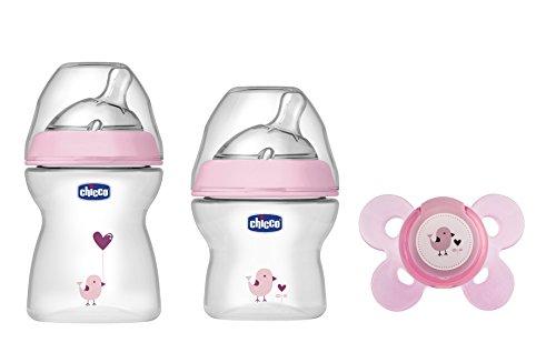 Chicco NaturalFeeling - Set de regalo con 2 biberones y chupete de silicona para bebé de de 0 meses en adelante, color rosa