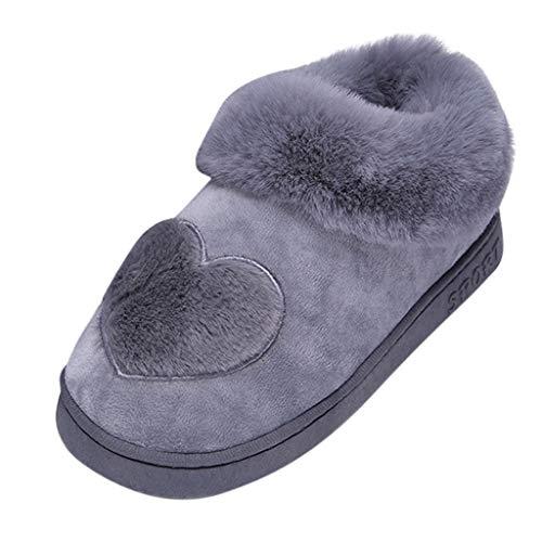 Luckycat Zapatillas De Casa Mujer Pantuflas De Lujo Casa para Mujer Zapatillas peludas Mujer Invierno Fur Zapatillas de Estar Cerradas Calienta Pantuflas para Pareja Interior o Exterior