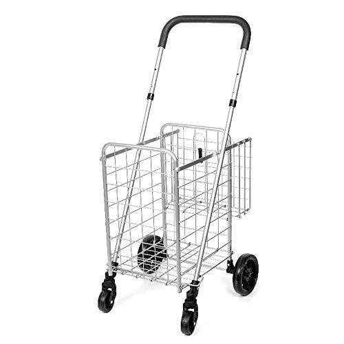 JXXDDQ Carrito De La Compra Plegable Cesta Doble Gigante Perfecto For El Supermercado Servicio De Lavandería Equipaje Viaje con Ruedas Giratorias Carro De Servicio (Color : Silver)