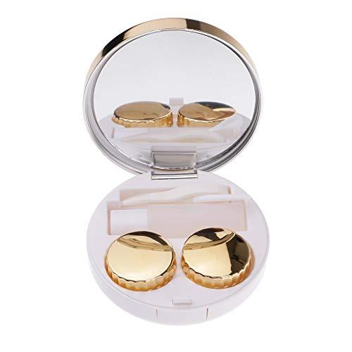 Fenteer Reise Kontaktlinsenbehälter Kontaktlinsen Behälter Box Aufbewahrung, mit Spiegel + Pinzette - Goldblau