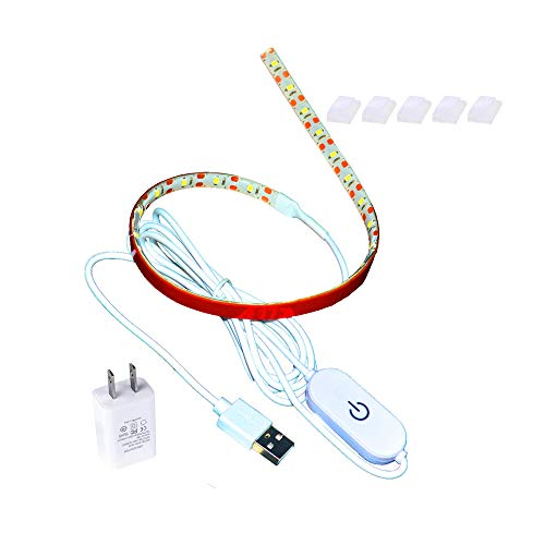 Led Sewing Machine Light Set,15 inch Working Lighting Strip Kit + 5ft Cord with Touch Dimmer and USB Power Supplier,5pcs Adhesive Clips,Cold White with 3M Adhesive Tape, Fits All Sewing Machines