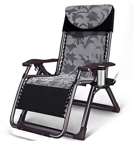 HOLITU Liegestuhl Klappbar,Zero Gravity Leicht Verstellbar Outdoor Sonnenstuhl mit Getränkehalter Aluminiumgestell Gartenstuhl relaxliege,Grey