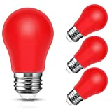 Smartinliving Red Light Bulbs LED 20W Equivalent, A15 3 Watts Red Light Bulbs, Medium Base E26, Party Decoration, Holiday Lights, 250LM, Non-Dimmable, 4 Pack