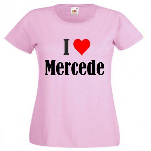 Damen T-Shirt I Love Mercede Größe 2XL Farbe Pink Druck Schwarz