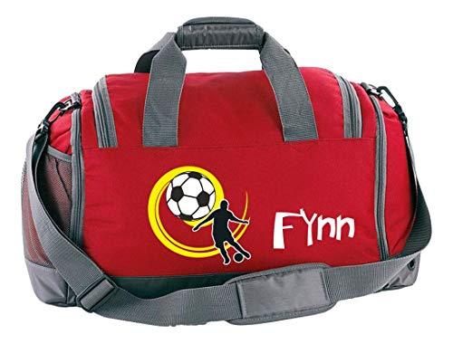 Mein Zwergenland Multi Sporttasche Kinder mit Schuhfach und Feuchtfach Fußball als Aufdruck Farbe Rot 41 L Stauraum die perfekte Sporttasche für Kinder