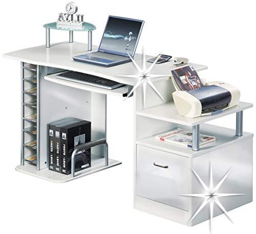 SixBros. Büroschreibtisch, praktischer Schreibtisch mit viel Platz für Ordner, Drucker und Monitor, Computerschreibtisch, 152 x 60 cm S-202A/732