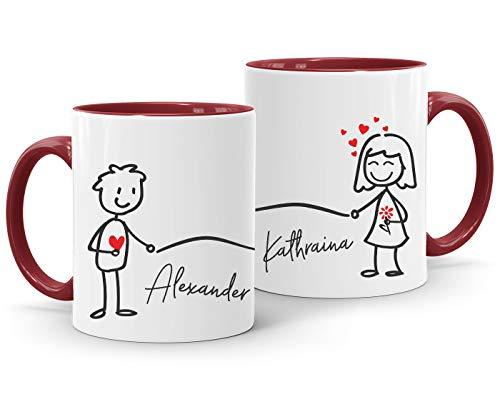 SpecialMe® Kaffee-Tasse mit Namen Liebes-Paar Strichmännchen Motiv personalisierbar Liebesgeschenke Valentinstag Weihnachten (1 Tasse) Variante 1 inner-bordeaux Keramik-Tasse