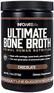 Infowars Life - Ultimate Bone Broth (15 Servings, Chocolate) – Bone Broth Protein Powder with Collagen, Turmeric Root, Chaga Mushroom, Bee Pollen & Other Ancient Super-nutrients