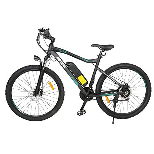 GOTRAX 27.5inch Electric Bike with 48V 10Ah Removable Lithium-Ion Battery, 500W Powerful Motor up Speed 32km/h, Shimano Professional 21 Speed Gears,Dual Disc Brakes Alloy Frame Electric Bicycle(Black)