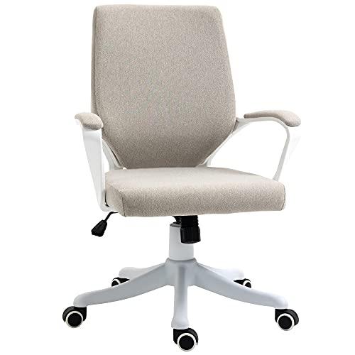 Vinsetto Bürostuhl Schreibtischstuhl Home-Office-Stuhl mit Wippenfunktion Rückenlehne höhenverstellbarer dick gepolstert ergonomisch 360°-Drehräder Polyester Nylon PP Beige+Weiß 62x69x92-102 cm