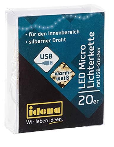 Guirnalda de luces LED con 20 ledes en blanco cálido y conector...