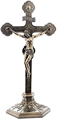 US 22.38 Inch Crucifix on The Stand Cold Cast Bronze Sculpture Figurine