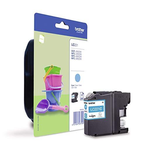 Brother LC221CBP Cartucho de tinta cian original para las impresoras DCPJ562DW, MFCJ480DW y MFCJ880DW, duración estimada hasta 260 páginas (según ISO/IE 24711)