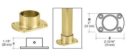 C.R. LAURENCE HR15ZPB CRL Polished Brass Cut Flange for 1-1/2' Tubing