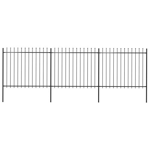 vidaXL Garden Fence Outdoor Coated Metal Rustproof Landscape Wrought Steel Spear Top Patio Fences Flower Bed Fencing Barrier Panels Animal Barrier Border Yard 200.8x59.1 inch Black