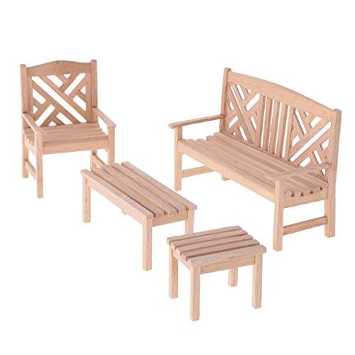 4 Pedazos Muebles de Madera Miniatura de Jardín de 1:12 Casa de Muecas