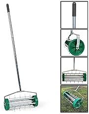 Rolling Lawn Aerator, Outdoor Heavy Duty Garden Lange Handvat Stalen Roller Lawn Spike Aerator, Garden Manual Aerators Grass Cultiveren Tool