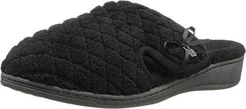 Vionic Women's Adilyn Mule Slipper-Comfortable Spa House Slippers That Include Three-Zone Comfort with Orthotic Insole Arch Support, Soft House Shoes for Ladies Black 10 Medium US