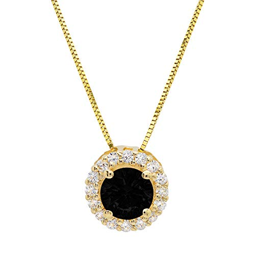 1.25ct Brilliant Round Cut Pave Halo Flawless Genuine Natural Black Onyx Gem Ideal VVS1 Solitaire Designer Pendant Necklace With 18