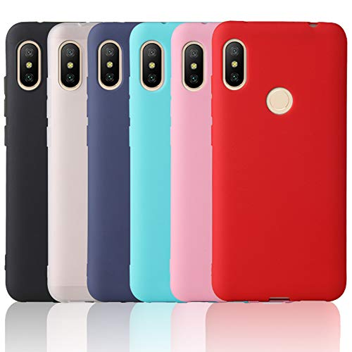 OUREIDOO 6X Funda para Xiaomi Redmi Note 6 Pro, Carcasa Suave Mate en Silicona TPU - Soft Silicone Case Cover - 6 Fundas de Colores, Negro + Rojo + Azul Oscuro + Rosa + Azul Cielo + Translúcido