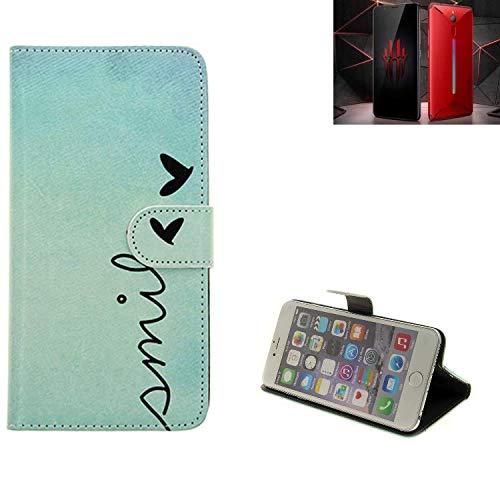 K-S-Trade Schutzhülle Für Nubia Red Magic Mars Hülle Wallet Hülle Flip Cover Tasche Bookstyle Etui Handyhülle ''Smile'' Türkis Standfunktion Kameraschutz (1Stk)