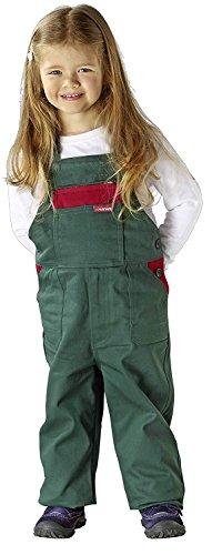 Planam Kinderlatzhose in verschiedenen Farben, Kinder Arbeits-Latzhose (98/104, grün/rot)