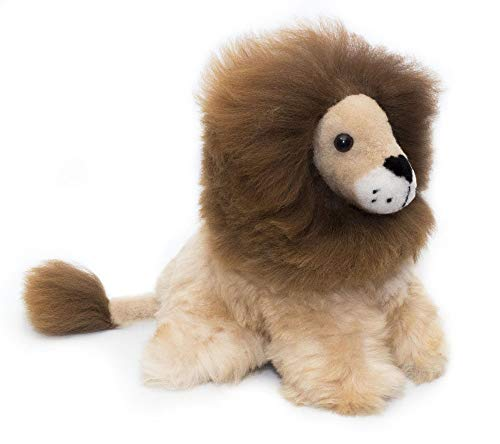 Baby Alpaca Fur Toy - Lion Figure - Soft and Cuddly Stuffed Animal… (11 inches, Brown)