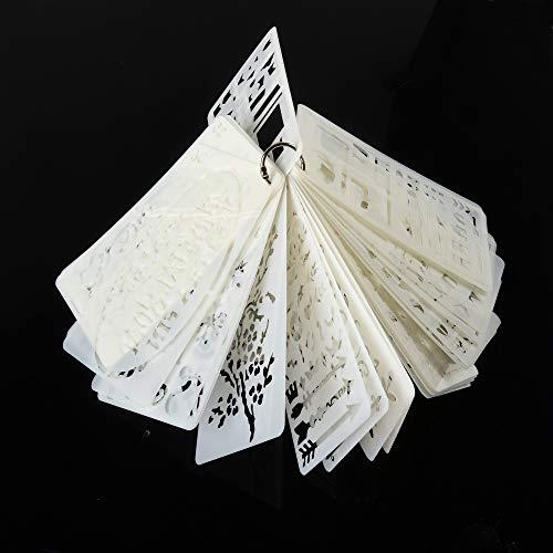 ewtshop® Schablonen für Bullet-Journal, Handlettering, Bastelarbeiten, 36 Schablonenplatten, Muster, Pfeile, Buchstaben UVM.