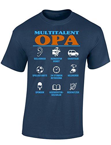 Baddery: Multitalent Opa - Opa T-Shirt als Geschenk für alle werdenden Opas - Geschenkidee für den Großvater, Denim, XL