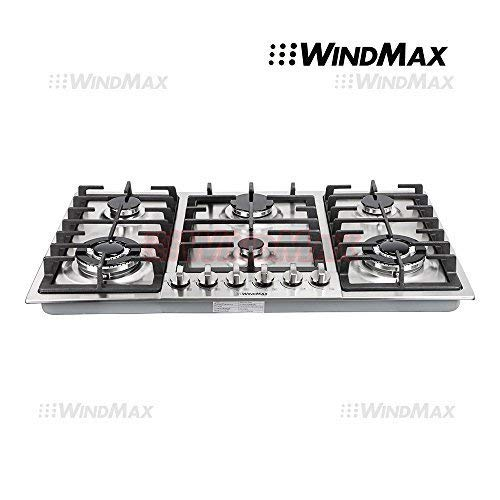 WindMax Euro Style 34' Stainless Steel 6 Burner Built-In Stoves NG Gas Cooktops Cooker