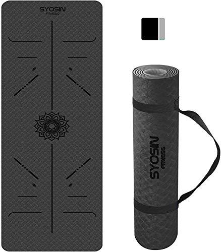 SYOSIN Yogamatte, TPE Gymnastikmatte rutschfest Fitnessmatte für Workout Umweltfreundlich Übungsmatte Sportmatte für Yoga, Pilates Heimtraining, 183 x 61 x 0.6CM (Blackgrey)