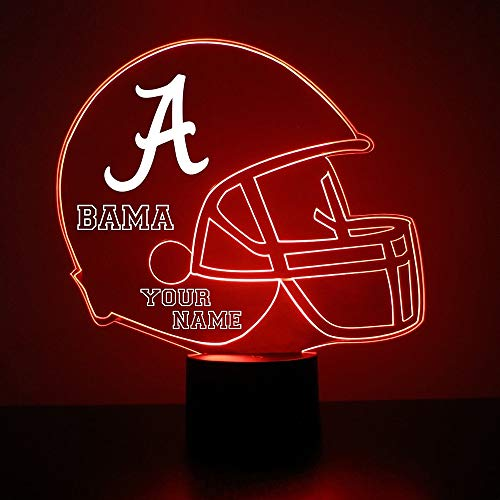 Mirror Magic Store Alabama Crimson Tide Football Helmet Sports Fan Lamp/Night Light - LED - Personalize for Free - Featuring Licensed Decal